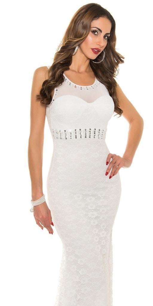 Koucla Elegantní plesové šaty bílé zdobené kamínky - M