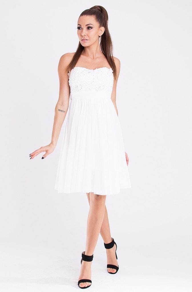 Eva&Lola Elegantní plesové midi šaty bílé - M