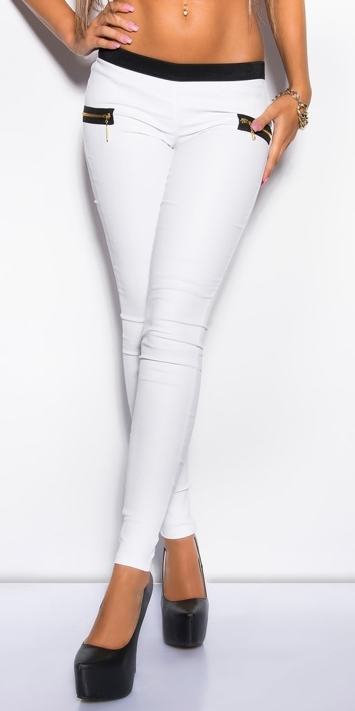 Koucla Dámské bílé kalhoty - S