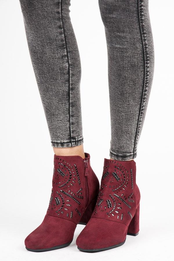 Kylie Semišové kotníkové bordó boty - 40