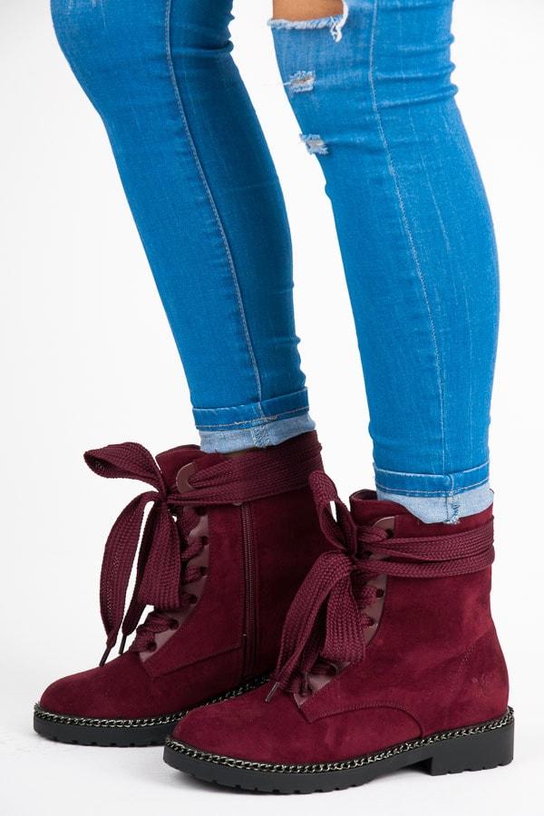 VICES new collection Kotníkové boty s širokými tkaničkami červené - 37