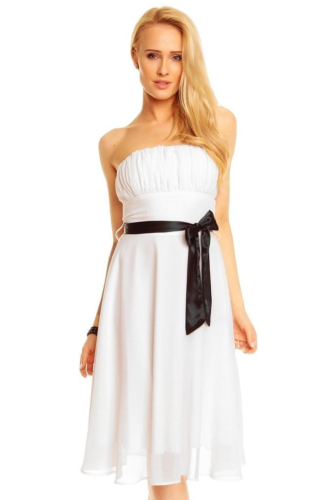Mayaadi Bílé plesové šaty s mašlí - 36