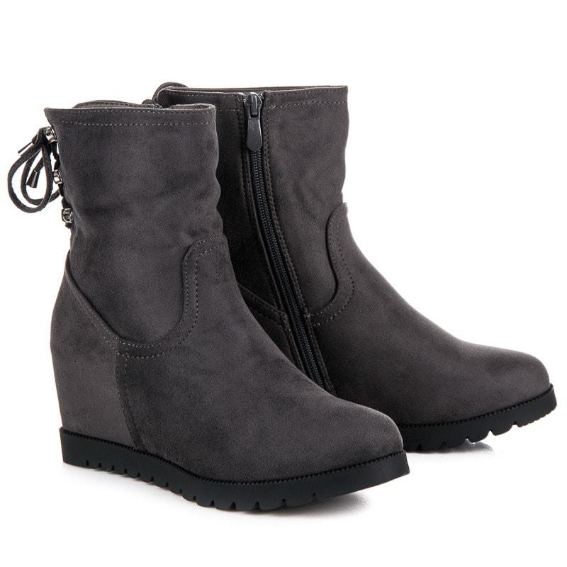 JULIET Semišové kotníkové boty na klínu - 37