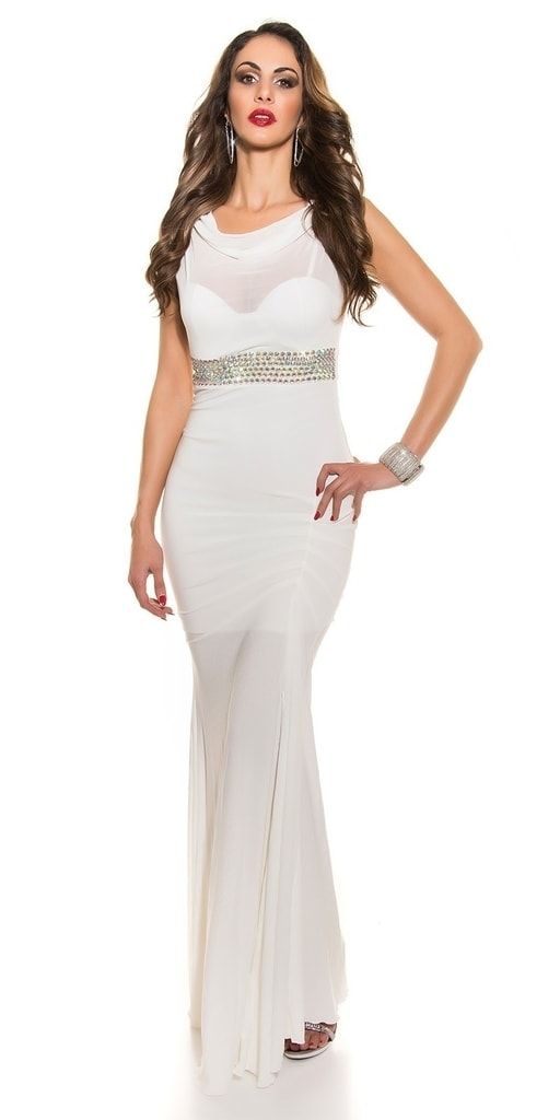 Koucla Bílé plesové šaty s kamínkovým pásem - L