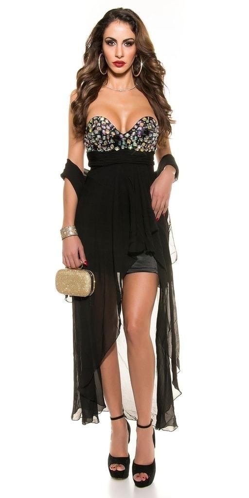 Koucla Černé společenské šaty - L