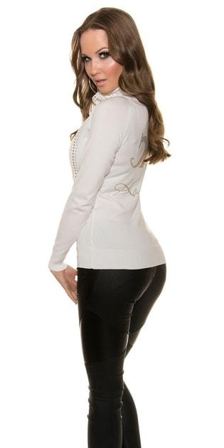 Dámský bílý propínací svetr - Koucla - Kardigany fec8465249
