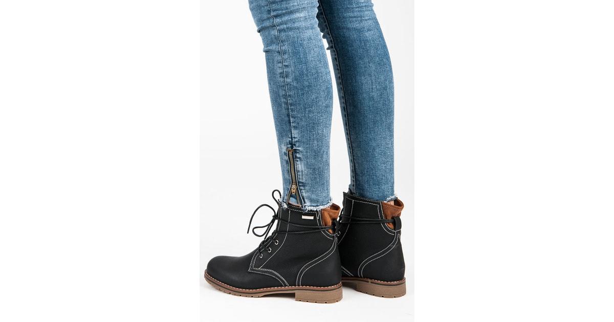 Černé kotníkové boty na nízkém podpatku - JULIET - Workery 4fa33515f6