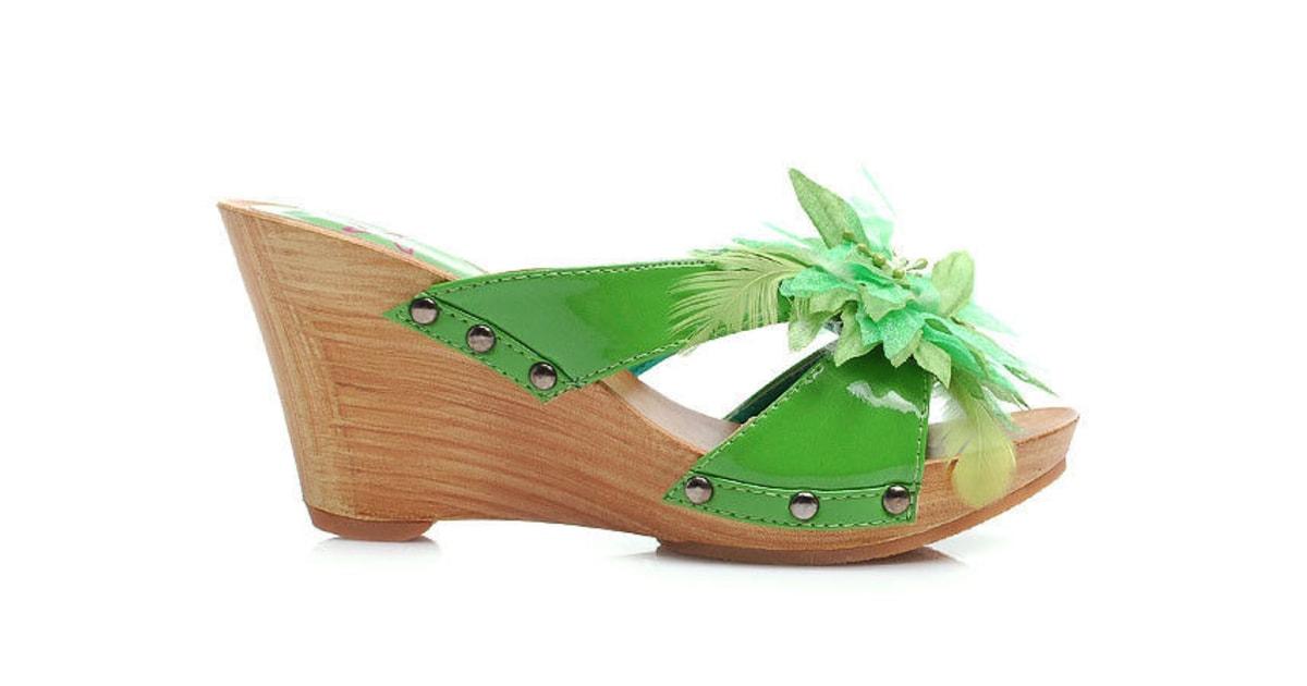 02699cfb151d Zelené dřeváky na klínku - DIVA STAR - Pantofle a žabky