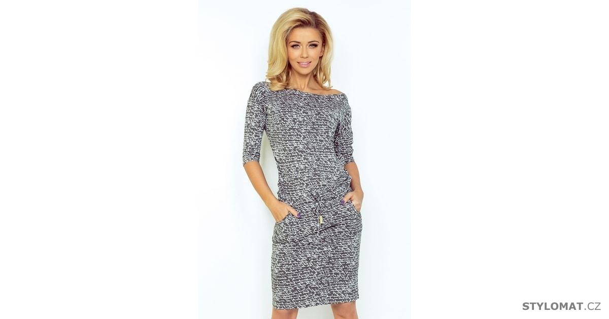 000cda92e96 Sportovní šedé šaty s nápisy - Numoco - Podzimní šaty