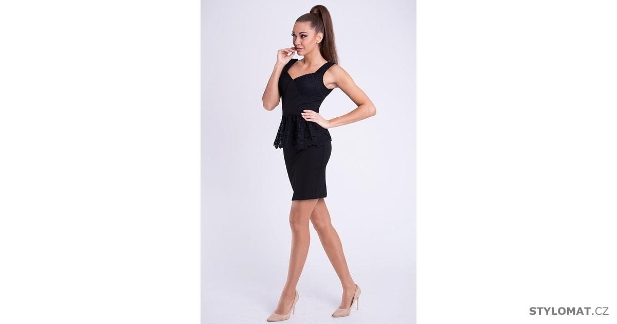 92029370966 Dámské krajkové peplum šaty černé - Emamoda - Krátké společenské šaty