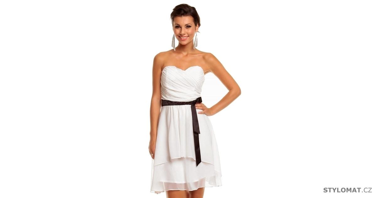 304a42d67b7 Dámské bílé koktejlové šaty - Mayaadi - Krátké společenské šaty