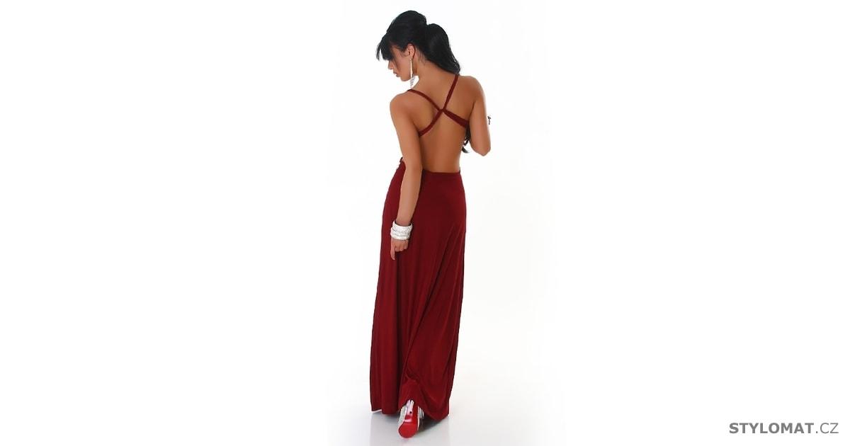 Vínové dámské šaty společenské - Queen O.F. - Dlouhé společenské šaty 55d69c1e64