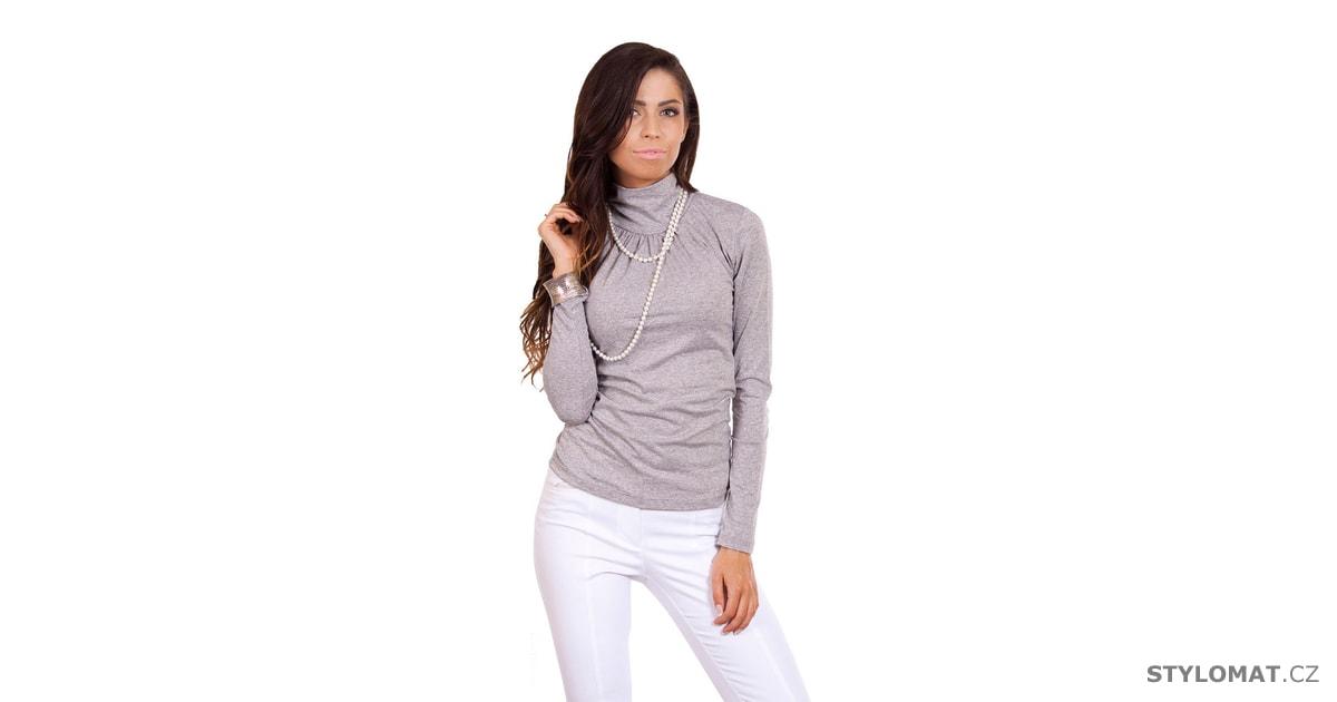 Klasický šedý dámský rolák - Fashion H. - Svetry c2ce824a03