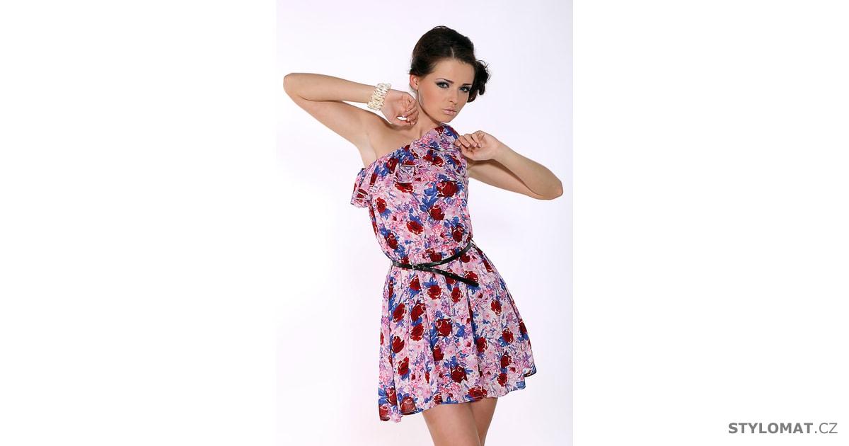 Letní růžové šaty s asymetrickým ramínkem - Sweet Miss - Krátké letní šaty 85ec573550