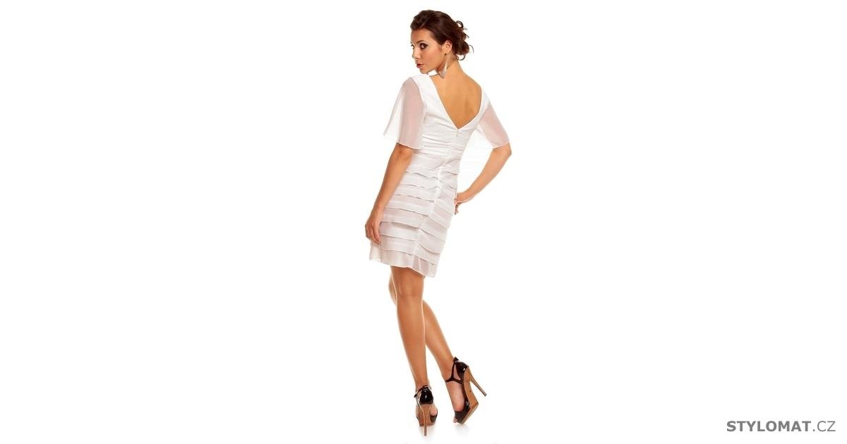 Dámské bílé volánkové šaty - Mayaadi - Krátké společenské šaty 68563474ad
