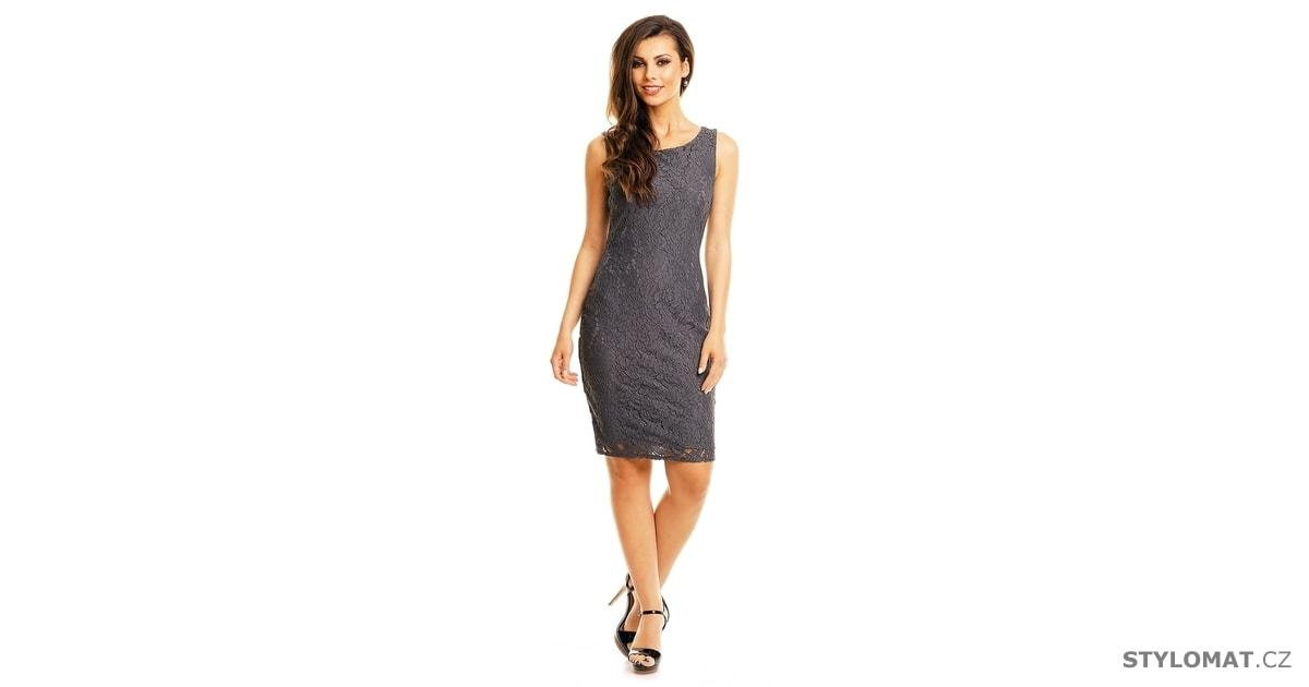 e609d7f3fd9 Šedé krajkové šaty - Mayaadi - Party a koktejlové šaty