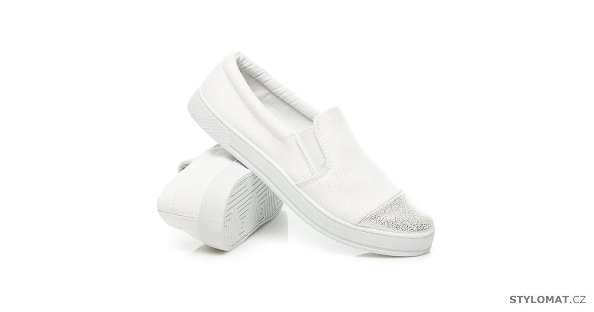 Módní nazouvací boty bílé - BALADA - Tenisky 15f0675fcd