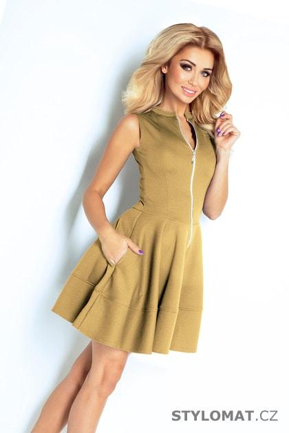 Šaty se zipem vpředu a kapsami béžové - Numoco - Krátké letní šaty 42ed620352