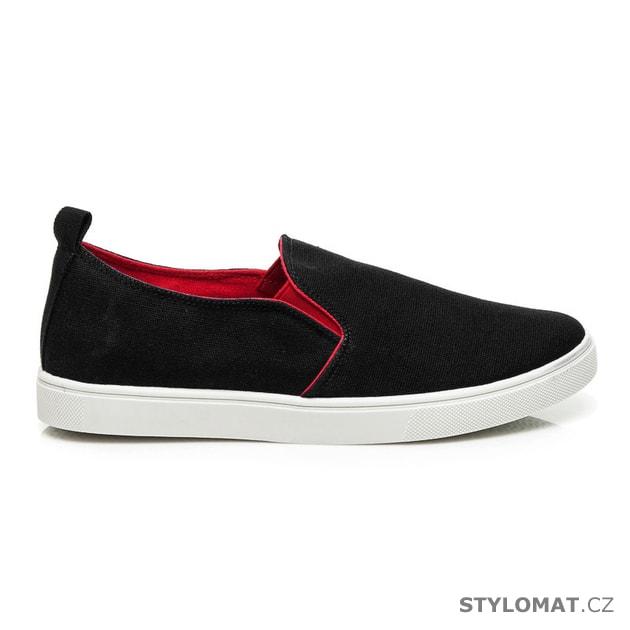68b4318ee6e Pánské černé nazouvací boty - Baolikang - Sportovní pánská obuv
