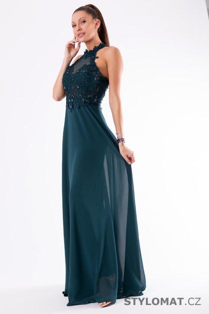1f528d42b0f Krajkové večerní šaty ke krku zelené - Eva Lola - Dlouhé společenské šaty