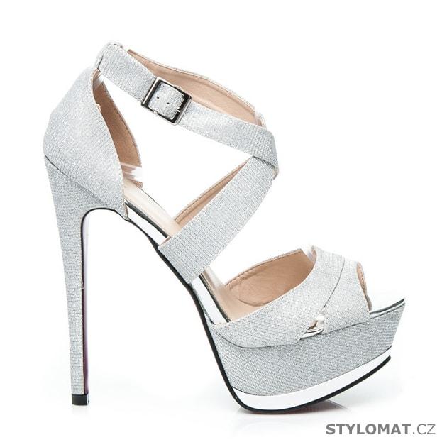 3b025286f38 Blýštívé sandály na ples stříbrné - CNB - Sandále