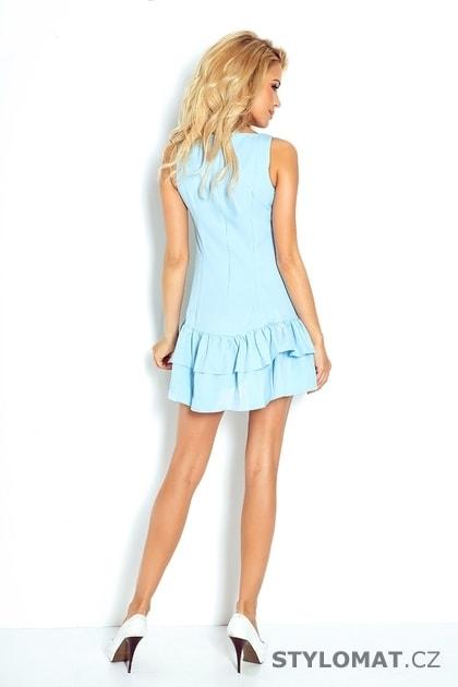 Světle modré mini šaty s volánkovou sukní - Numoco - Minišaty 11fd94306c