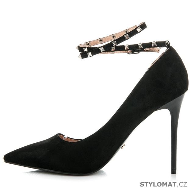 937c0445db6c Černé lodičky s páskem se cvočky - Ideal Shoes - Lodičky