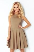 Kávové dámské šaty s kolovou sukní