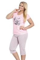 Dámské pyžamo Sylvie růžové s květy nadměrná