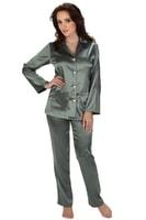 Saténové pyžamo Classic dlouhé šedé