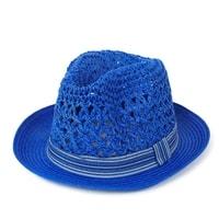 Modrý měkký trilby klobouk