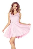 Šaty s kolovou sukní pastelově růžové