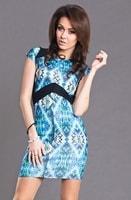 Modré vzorované bodycon šaty