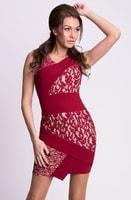 Dámské asymetrické bordó šaty