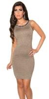 Dámské béžové šaty zdobené flitry 2v1