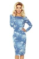 Pohodlné dámské šaty džínově modré s bílými květy.