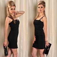 Černé pouzdrové šaty na ramínka