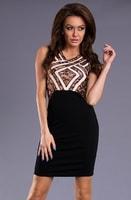 Černo-krémové pouzdrové šaty