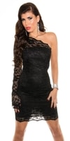 Černé krajkové šaty asymetrické
