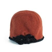Dámský podzimní klobouk s černou mašlí oranžový 89f8c80c6e