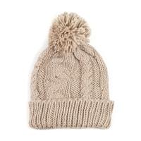 Teplá zimní čepice s střapcem béžová