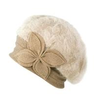 Angorský baret s ozdobou béžový