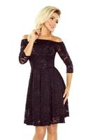Šaty s holými rameny a černou krajkou