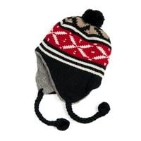 Zimní čepice - ušanka s červeným vzorem