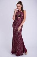 Dámské dlouhé krajkové šaty vínové