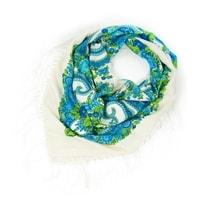 Modrý folk šátek s třásněmi