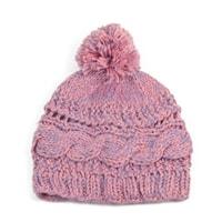Růžová pletená čepice