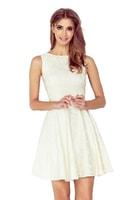 Šaty s kolovou sukní a lodičkovým výstřihem ecru