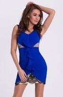 Modré pouzdrové šaty s volánem