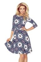Geometrické dámské šaty s kolovou sukní